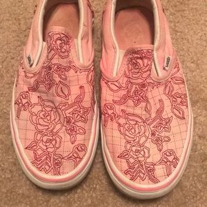 Pink with red flower vans